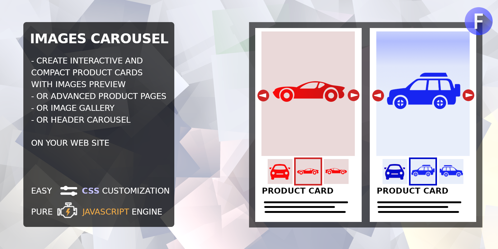 Images carousel for product cards