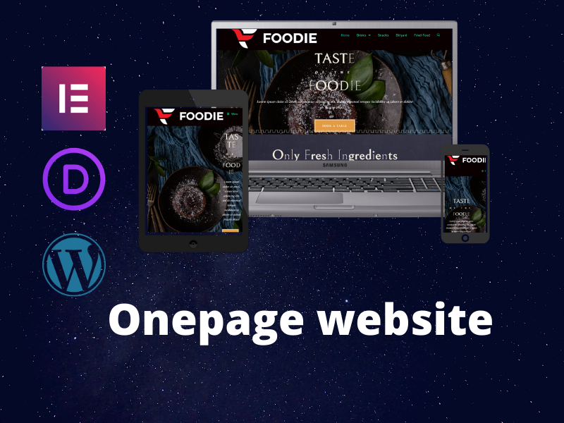 one page wordPress website with Elementor or Divi