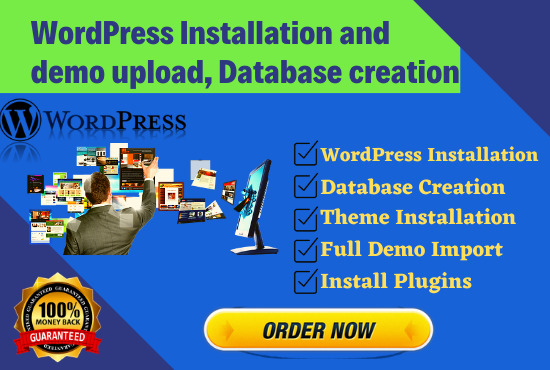 I will do install wordpress,  upload theme and customization within 2 hours