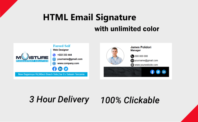 I will design professional clickable HTML email signature