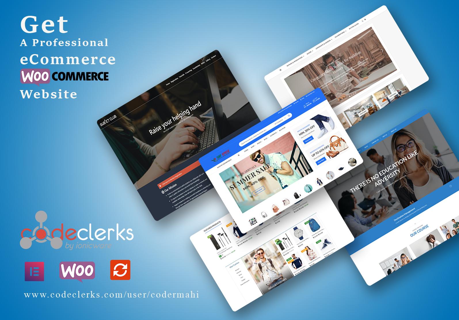 I will create wordpress ecommerce website using woocommerce store