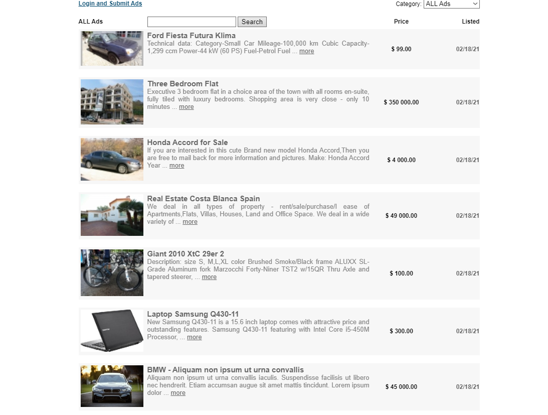 Classified Ads Script PHP Simple
