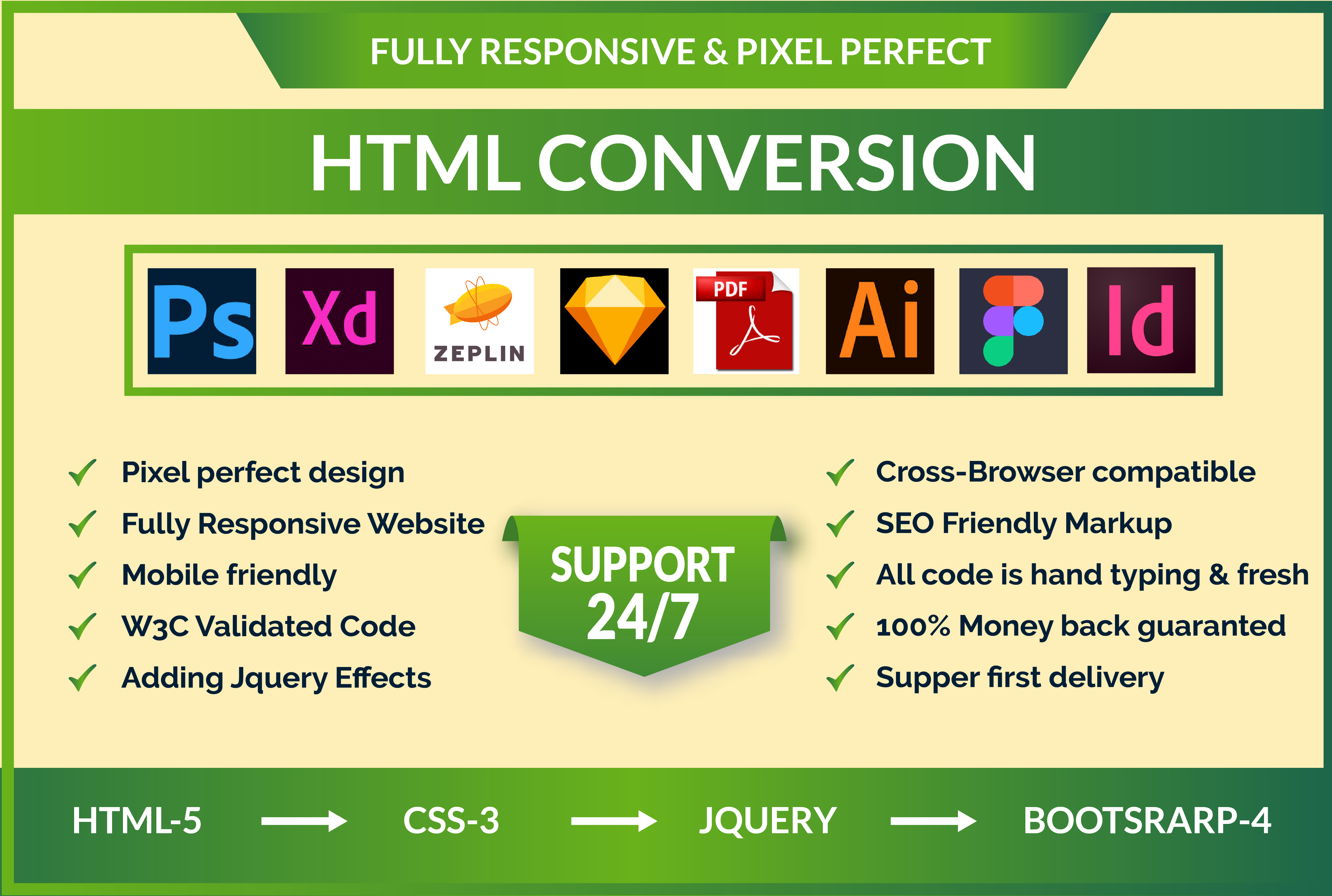 I will convert psd to html,  xd to html,  sketch responsive bootstrap