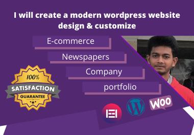 I will create a modern wordpress website design & customize