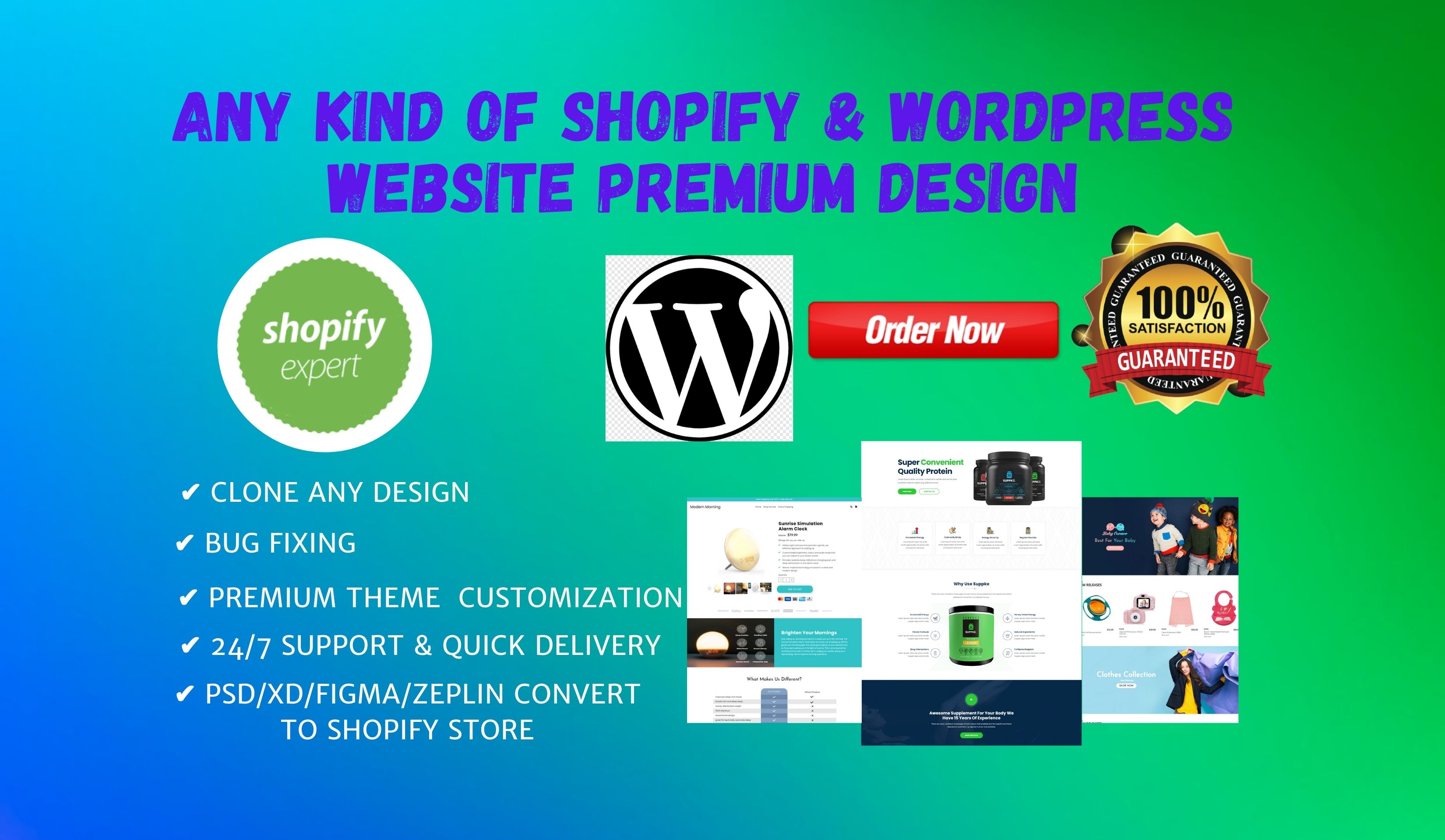 i will create premium Shopify and WordPress websites as your need