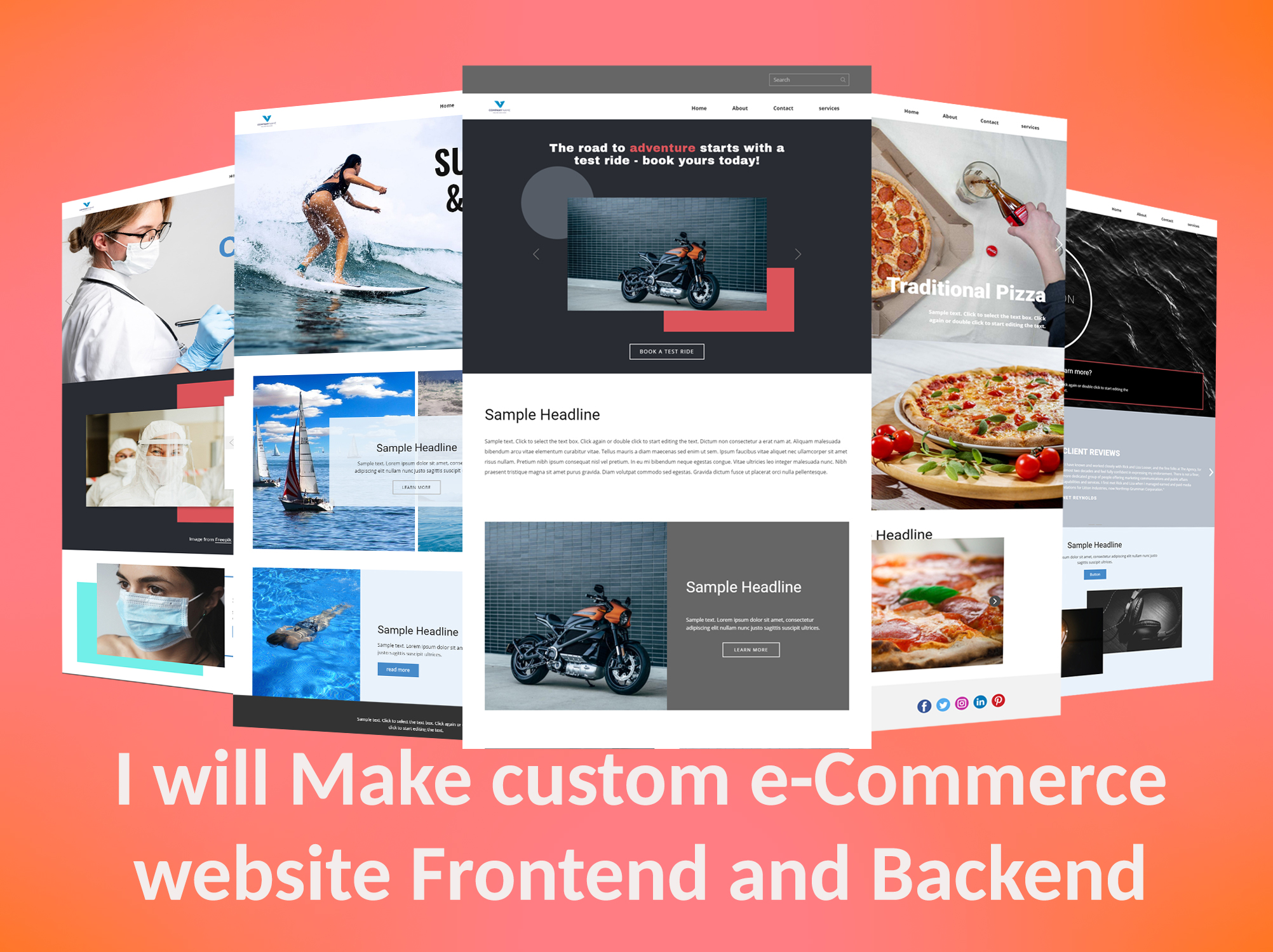 I will make custom ecommerce website frontend and backend
