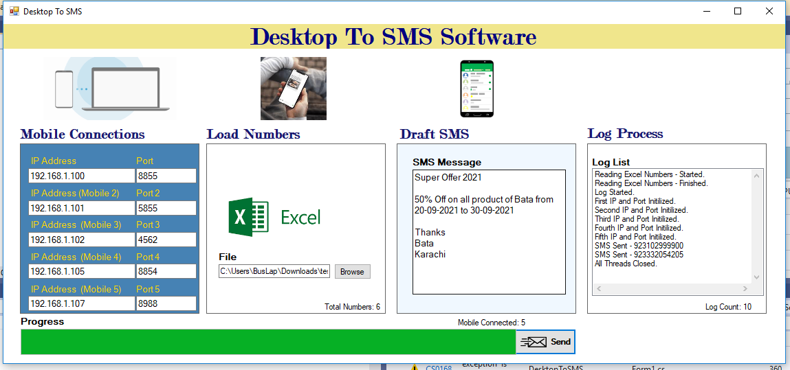 DesktopToSMS Software with Android APP with Code