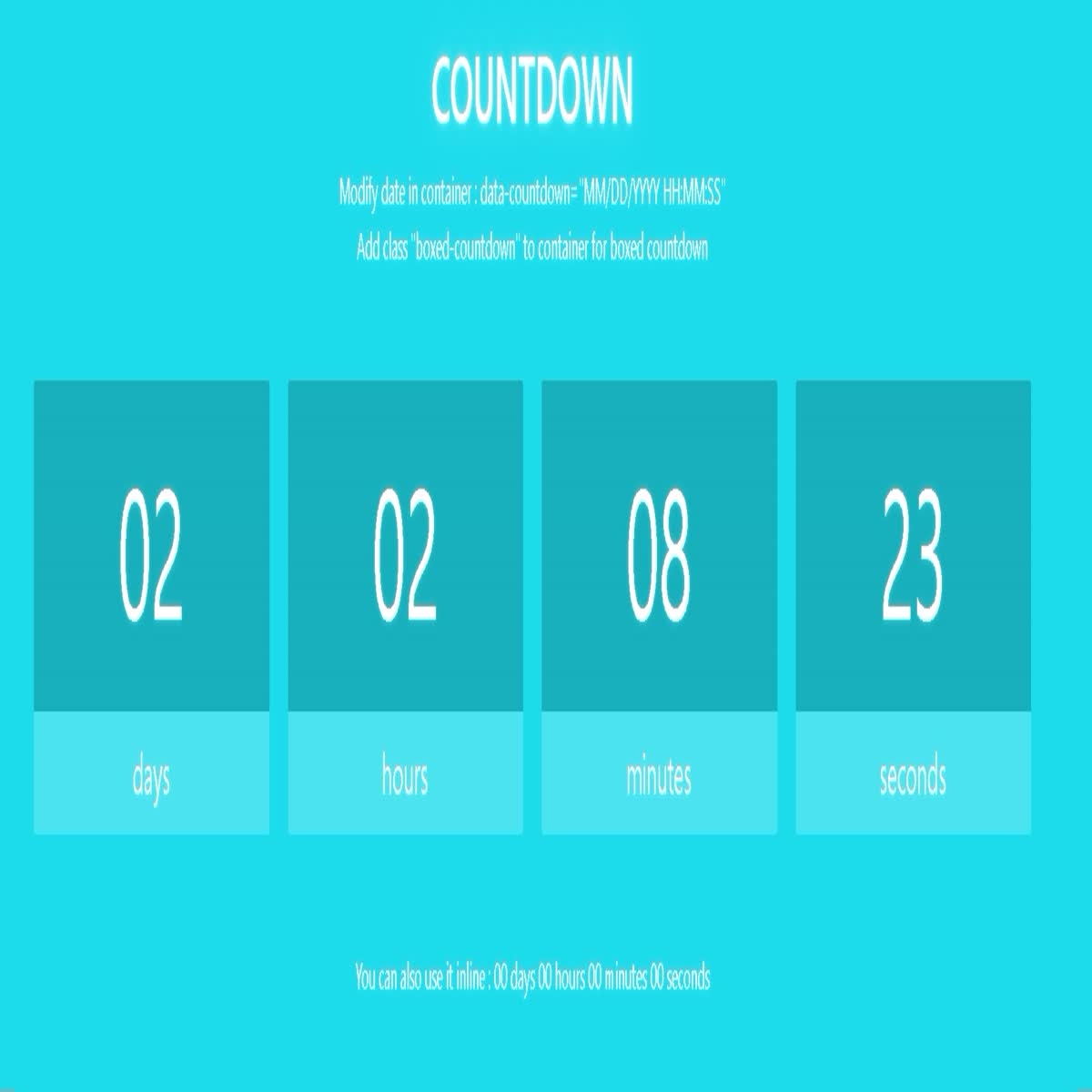 A completely simple countdown timer. Used in the image and in the code.