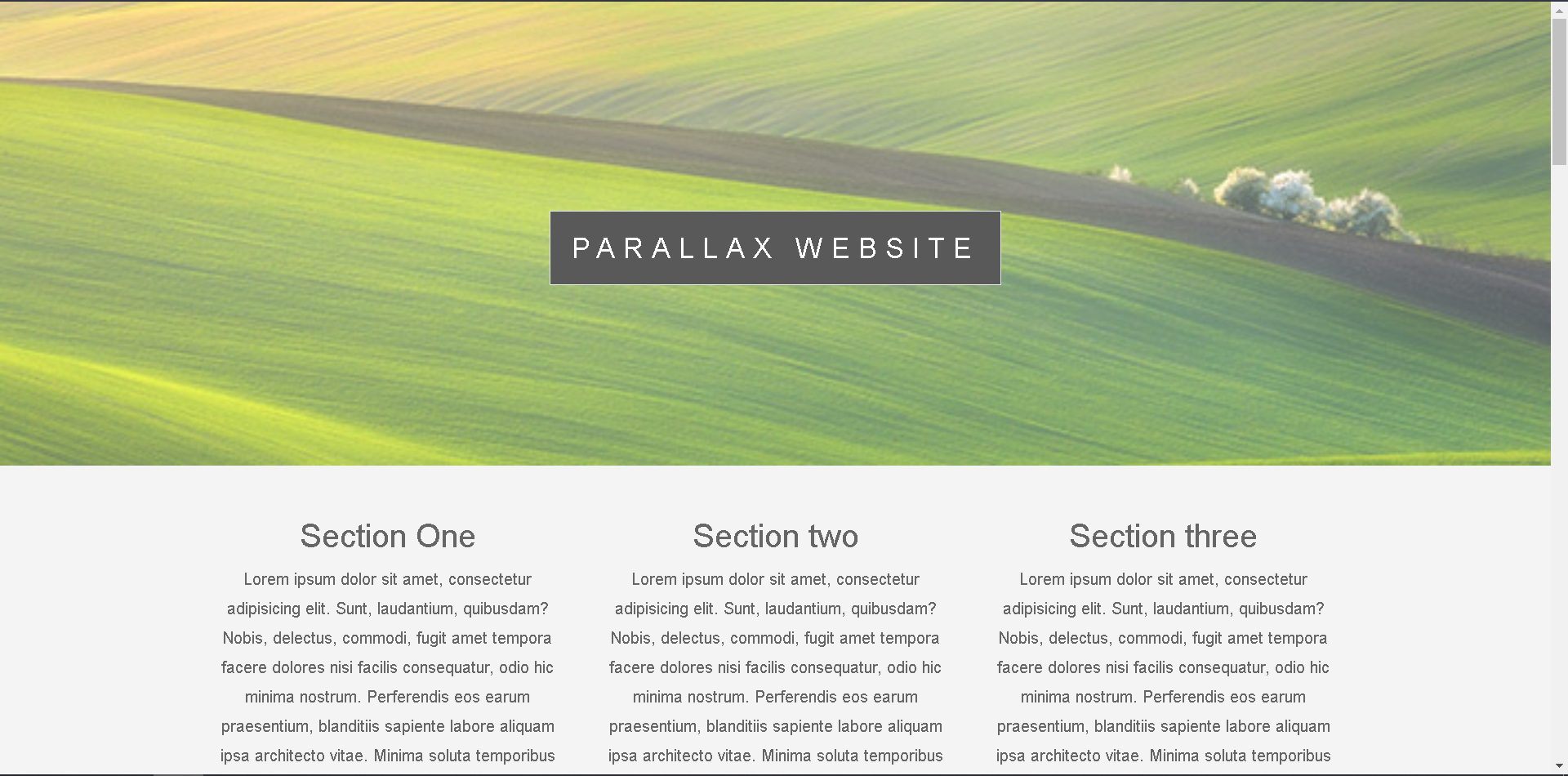 One page location of parallax website