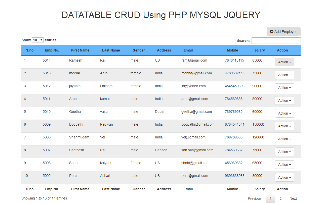 DATATABLE CRUD Using PHP MYSQL JQUERY