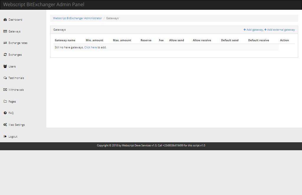 WEBSCRIPT BITEXCHANGER v1.0 Php script