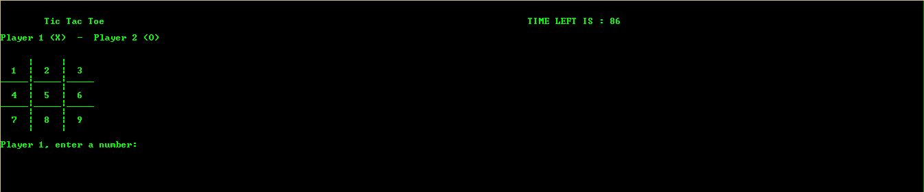 TIC TAC TOE CONSOLE BASED GAME WITH TIME