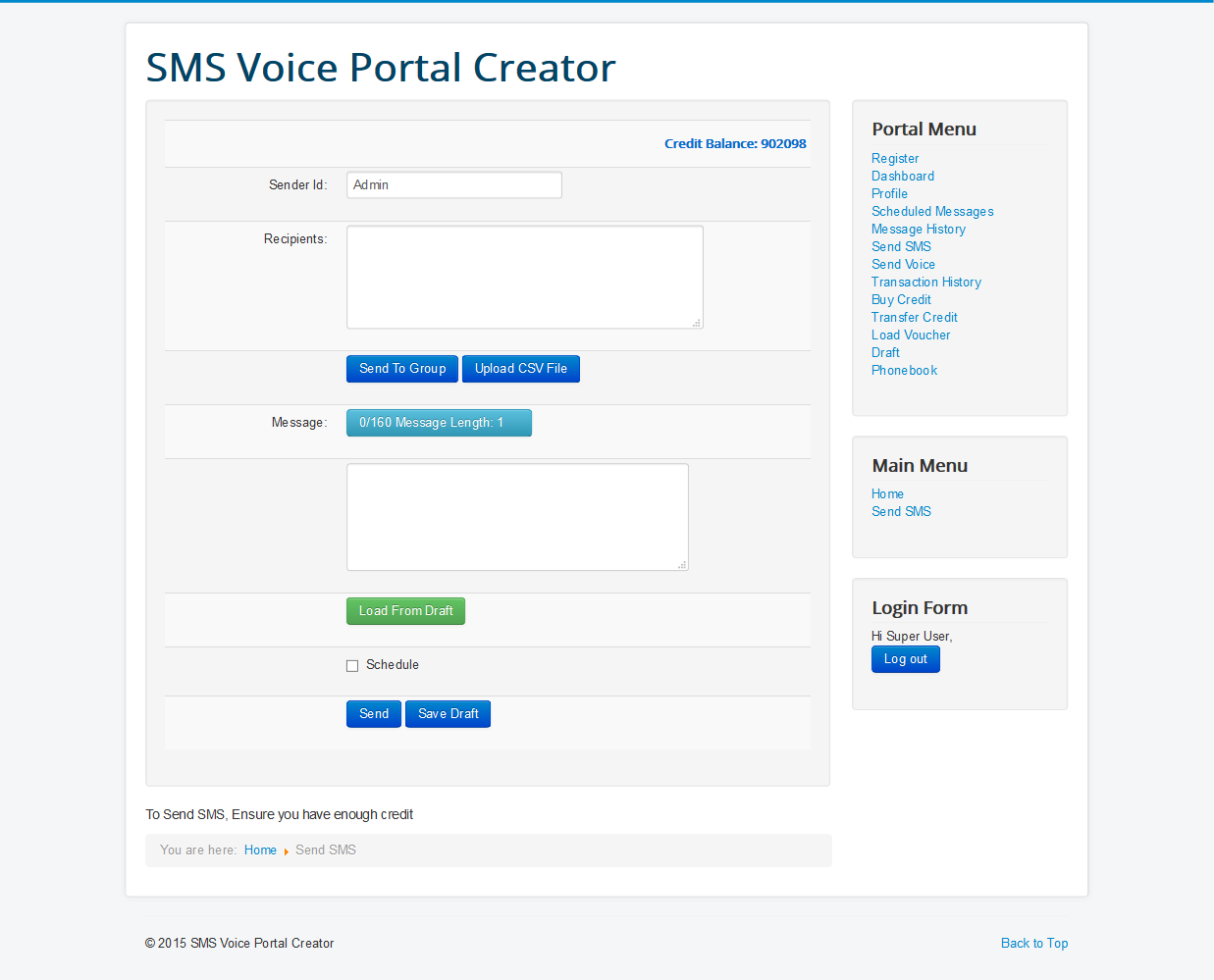 SMSVOICEPORTAL- Joomla Bulk SMS and voice Messaging Component with Reseller System