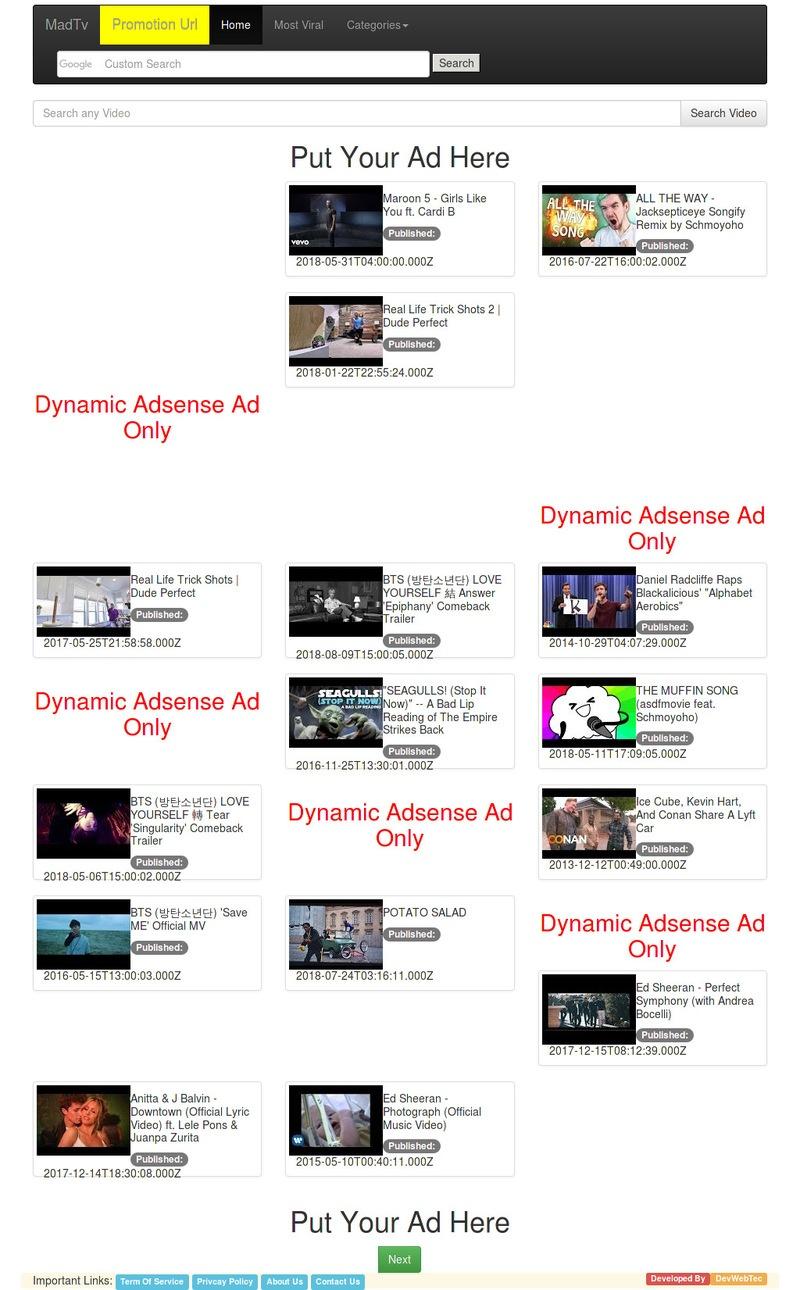 Madtv youtube api video engine