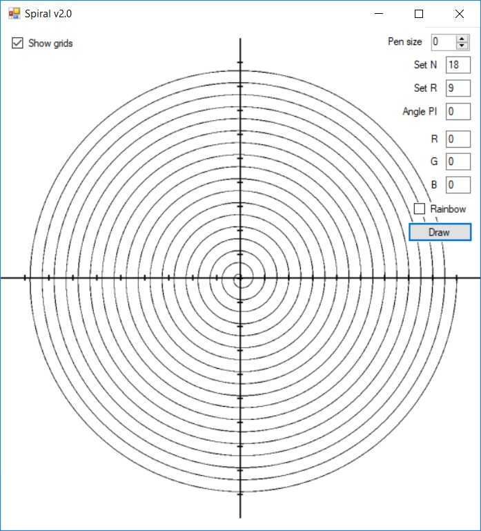 Spiral drawing program with source code and original spiral building formula