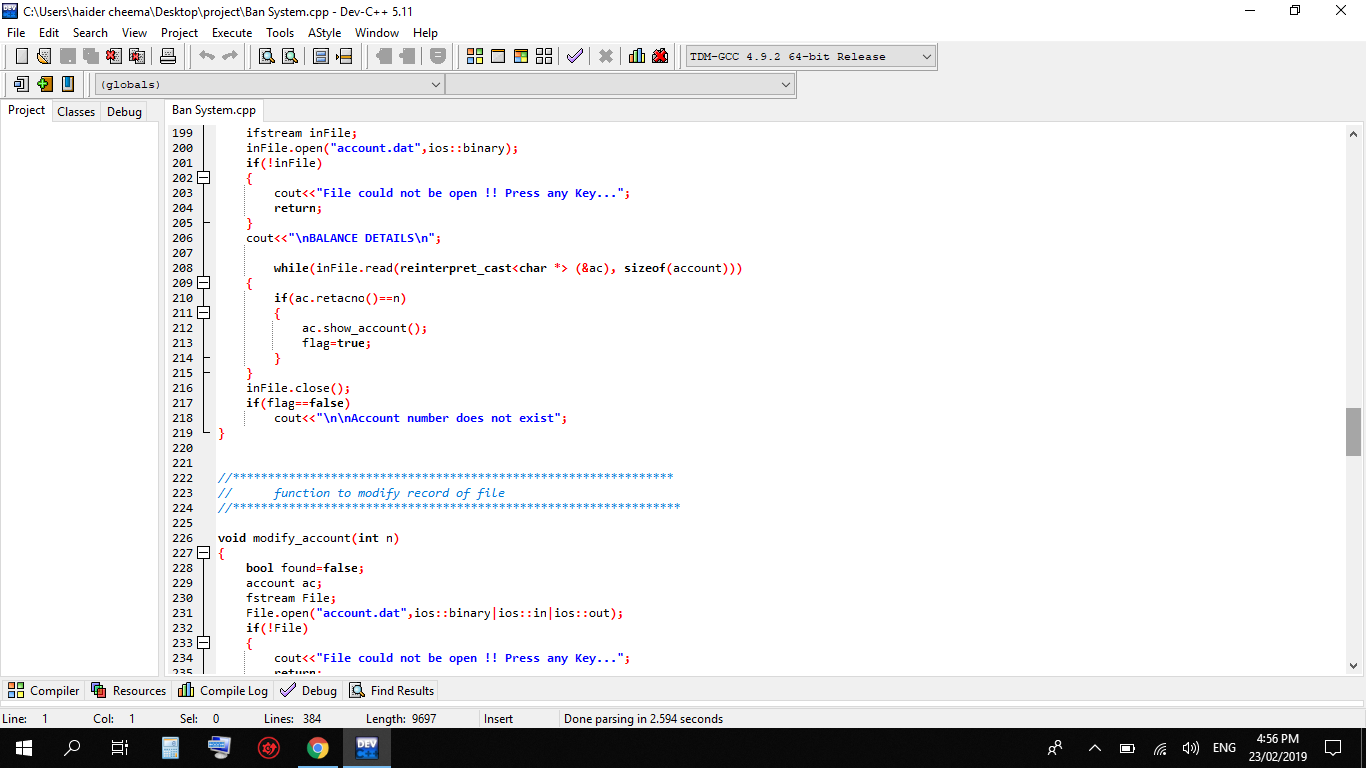 object oriented programing code bank system code created in dev c++