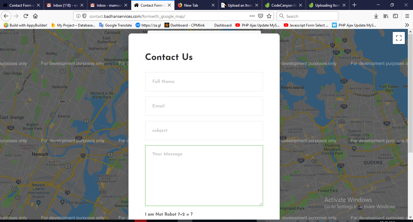 Ajax Contact Form with Google map