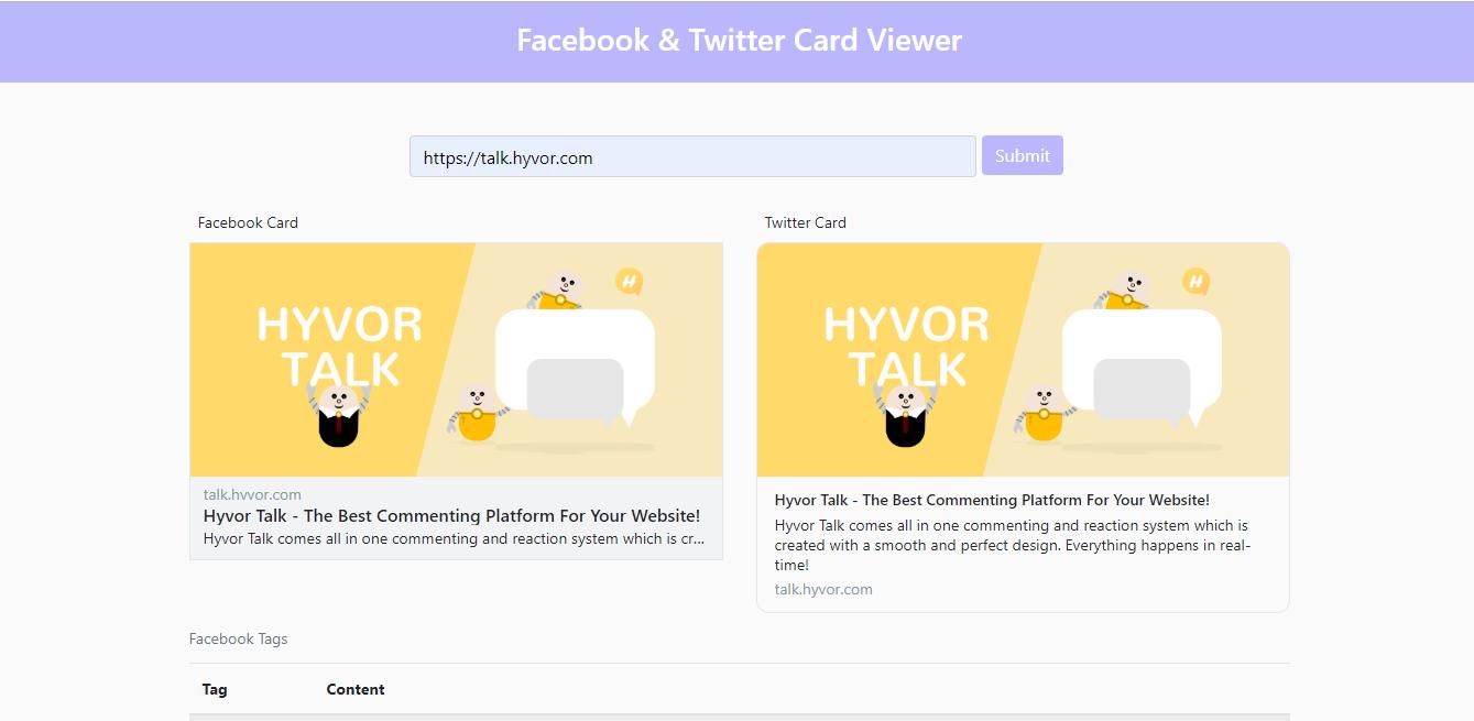 Facebook & Twitter Card Viewer