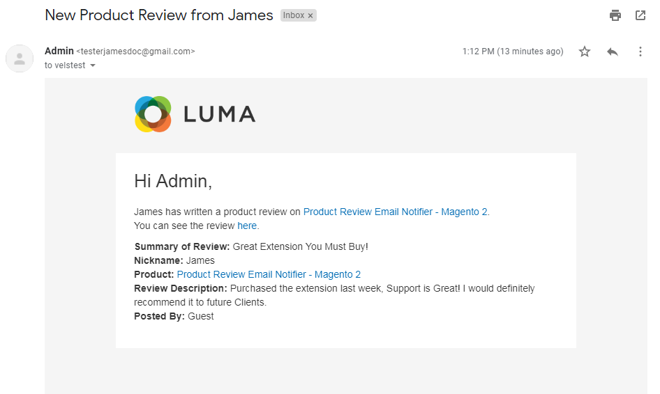 Product Review Email Notifier - Magento 2