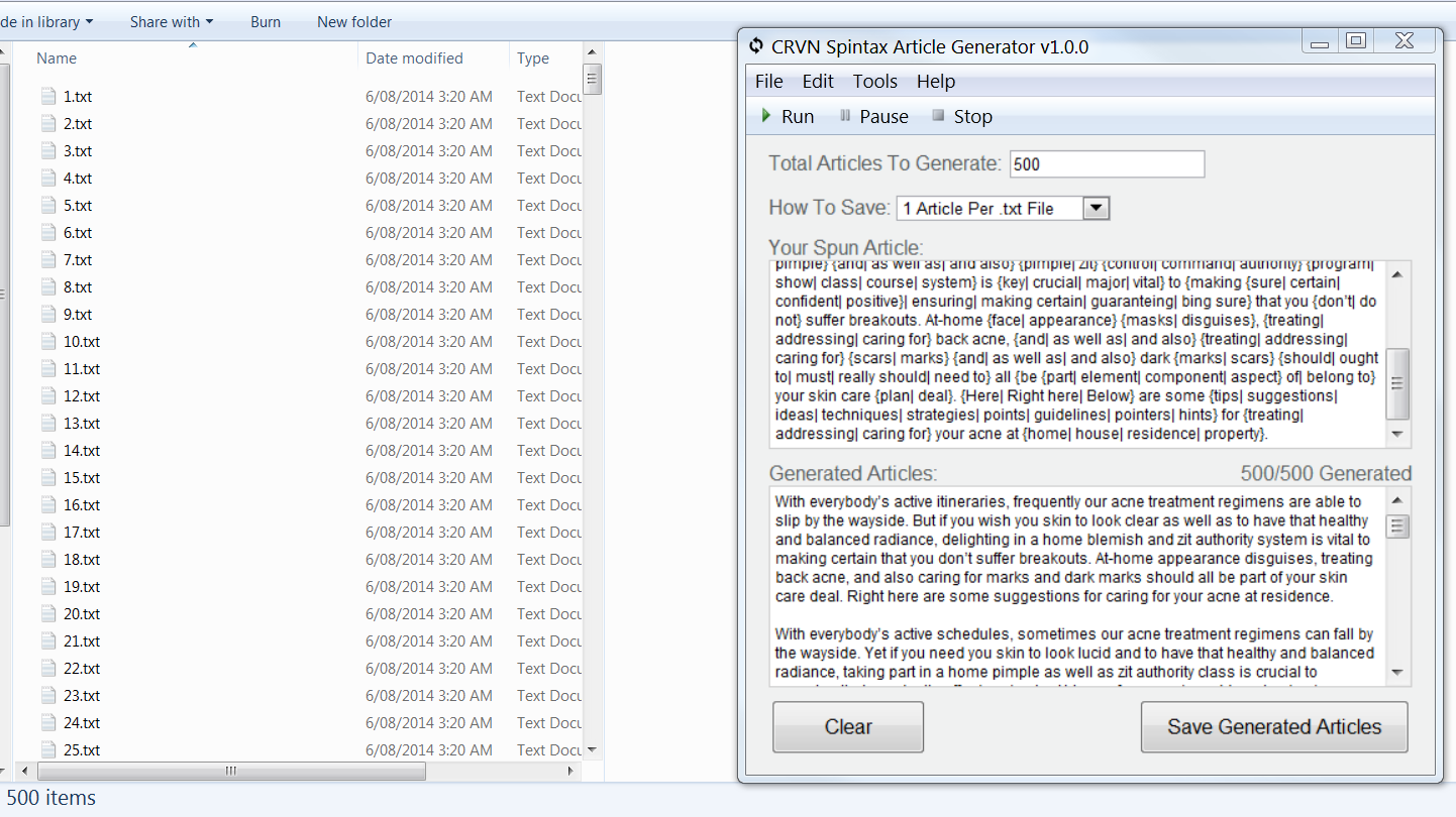 CRVN Spintax Article Generator Software