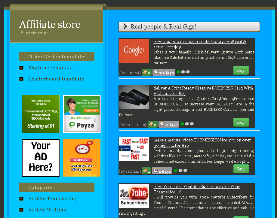Mini Store Page for SEOClerks Affiliate for