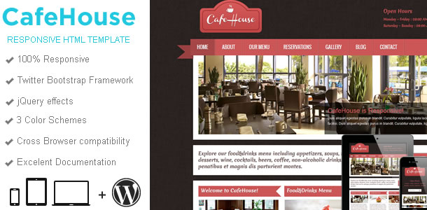 CafeHouse Restaurant Template
