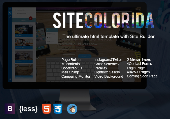 SiteColorida Multi-Purpose HTML template with Site Builder