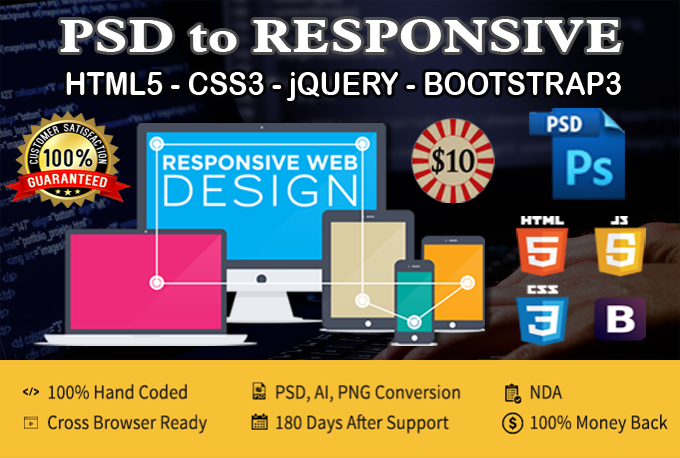 Convert Psd to Responsive html5 using bootstrap3