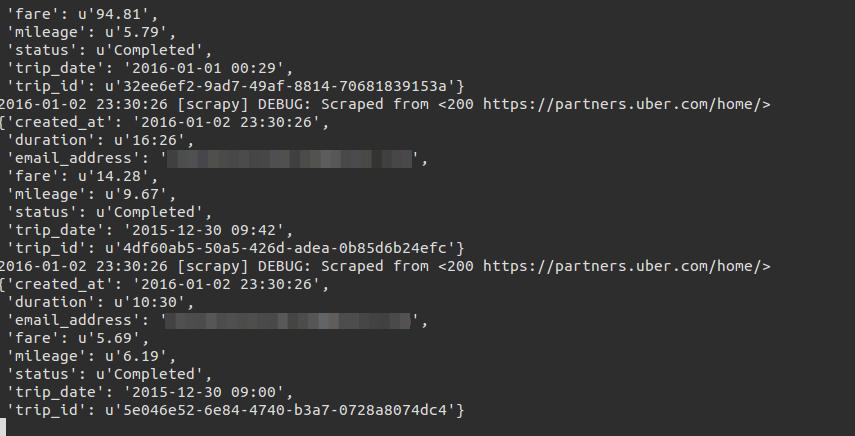 Uber Spider - Extract Uber Trip Info Into MySQL