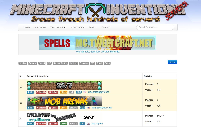 Minecraft Servers' Status List for $10
