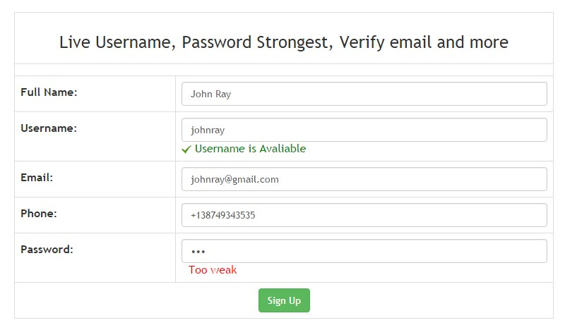 Secure Signup with live available username,  check password strongest and email verification.