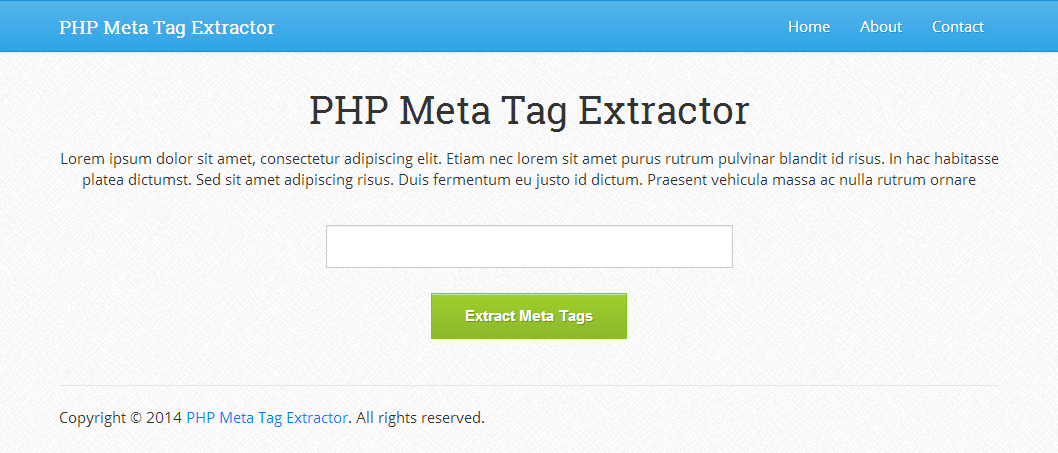PHP Meta Tag Extractor 1.0