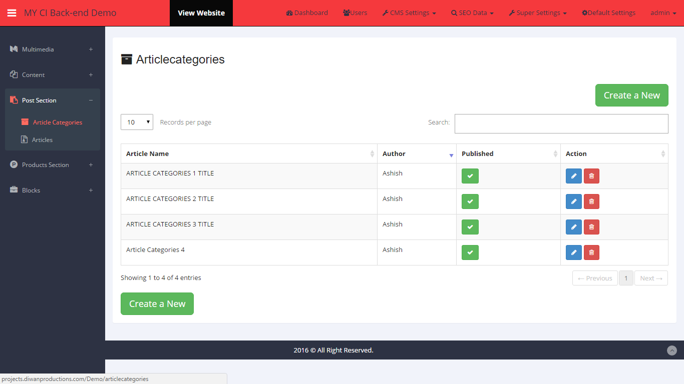 Adcms Customize Admin Panel Using Codeigniter For 125