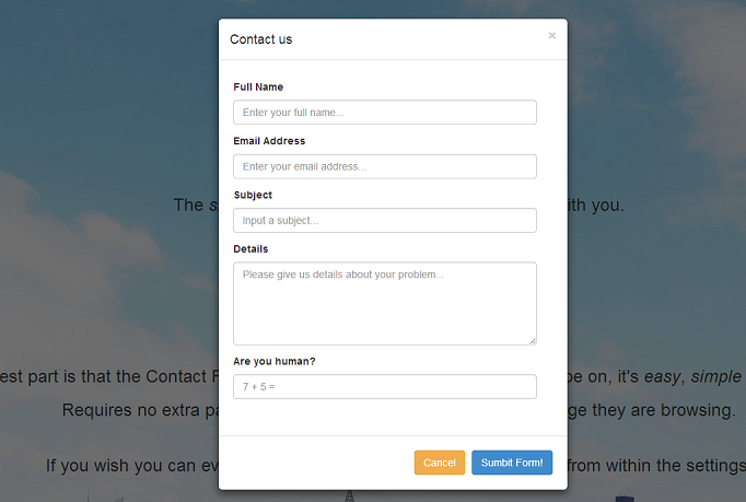ajax popup contact form for 5 codeclerks