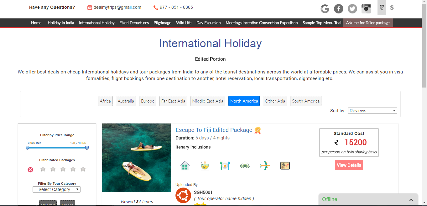 Tour & Travel Website with Admin Panel
