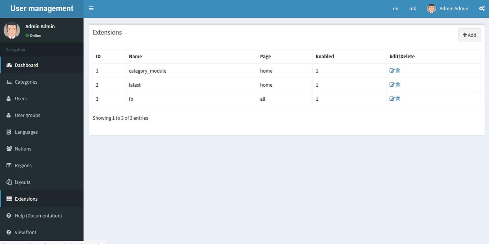 Module management Codeigniter Admin LTE for $13