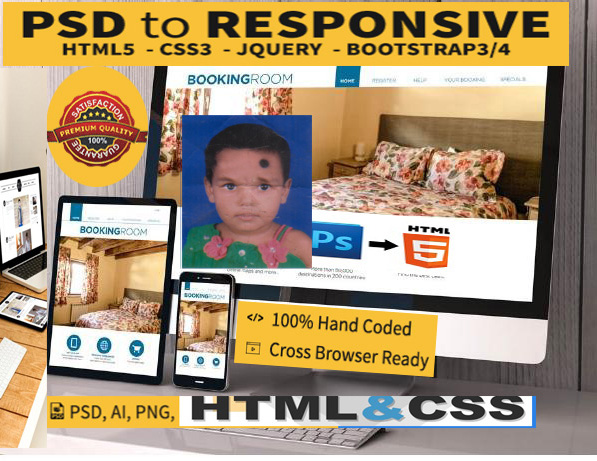 Convert PSD to HTML with fully responsive and I can make that live preview