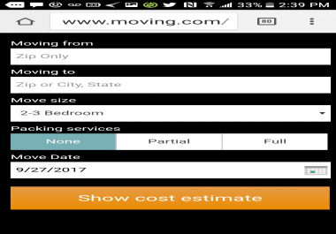 Moving company calculater