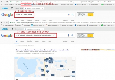 Bookmarklet for INURL and INTITLE searches for Chrome