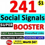 241 SUPER BOOSTER SOCIAL SIGNAL Backlinks- Verified AUTHORITY Google Page 1 Ranking SOCIAL SIGNALS
