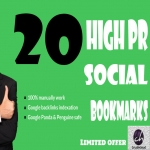 Will manually bookmark your site to High PR 20 social bookmarking sites only