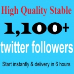 Start Instant 1,100 High Quality Twitter FolIowers on your profile