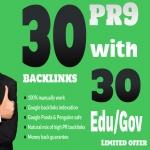30 PR9 Backlinks and 30. Edu/. Gov Backlinks only