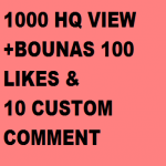 1000 - 2000HQ YouTube views 100 likes+10 coustom comments