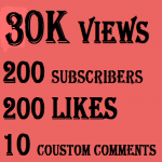 New 30k YouTube views+100 likes+10 coustom comments