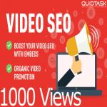 YouTube SEO - 1000 Views,  1000 Embeds,  50 PR9 Social Signals