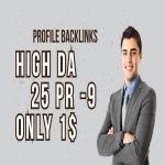 Manually DA 80+ All Pr9 25 Safe SEO High Profile Backlinks