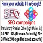 HQ SEO campaigns-The full monty Premium Edition-30 PR9 - DA Domain Authority 70-20 Web 2.0 blogs backlinks
