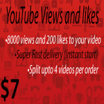 8000 vie ws and 200 lik es to your YouTube video Instant Start
