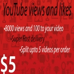 8000 views and 100 likes to your YouTube video